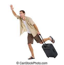 Worried tourist with wheels bag hurry to airplane