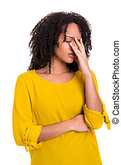 Worried woman - A worried young african woman, isolated over...