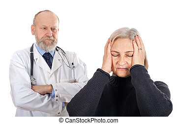 Worried woman at the doctor