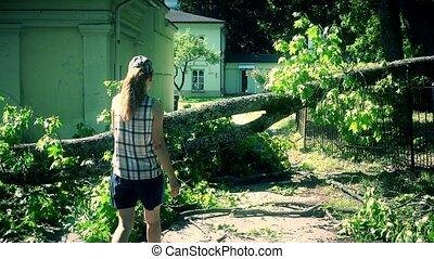 Worried woman climbing over fallen tree on house yard entrance.