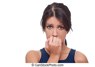 worried woman - Head shot of worried woman over white...