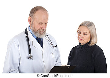 Worried woman with her doctor