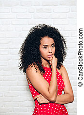 Worried Young African American Woman Biting Nails For Sadness Anxiety