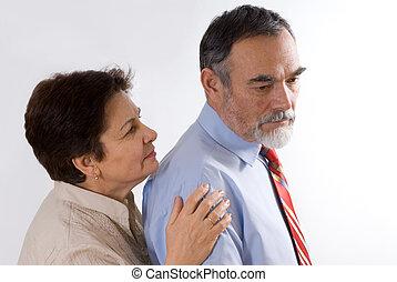 worries  - worried elderly man turn aside from his woman