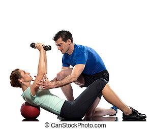 Worrkout Posture - couple exercising workout on white...