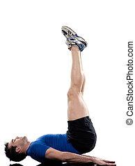 Worrkout Posture - man doing abdominals workout posture on...