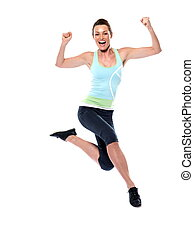 Worrkout Posture - woman running on studio white isolated...