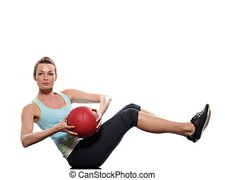 Worrkout Posture - woman doing ball abdominals workout...