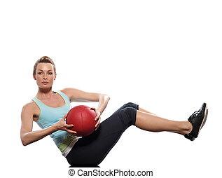 Worrkout Posture - woman doing ball abdominals workout...