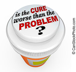 worse, 帽子, 治療, びん, 薬, 問題, より