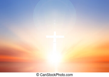 Worship and praise God concept: cross on blurry background -...