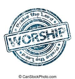 """""""worship"""", grunge, francobollo, gomma"""