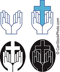 Graphic design of pair of praising hands at worship with iconic Christian cross. Art presented in four alternate versions.