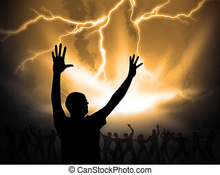 worship - many people are praising the holy lord
