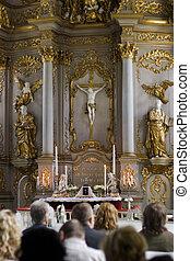 Worship service in church