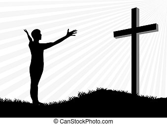 Worship silhouette - Young man worship and praise silhouette...