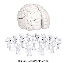 worshiping, mózg, biały, grupa, ludzie