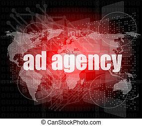 wort, anzeige, render, schirm, agentur, digital, pixeled, 3d