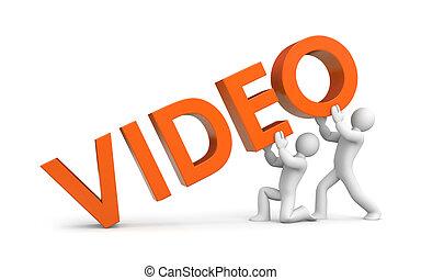 wort, aufziehen, leute, video, klein, 3d