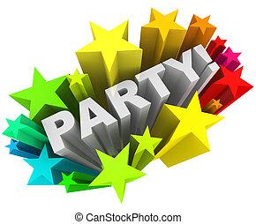 wort, bunte, starburst, sternen, einladung, spaß, party, ereignis