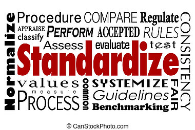 wort, collage, consistent, prozess, messen, standardize