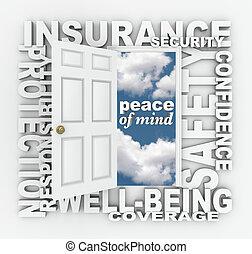 wort, collage, schutz, tür, sicherheit, versicherung, 3d