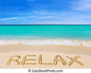 wort, entspannen, auf, sandstrand