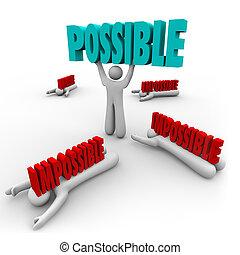 wort, erfolg, gewinner, möglich, vs, unmöglich, hebt, mann