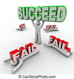 wort, erfolgreich, hält, person, gelingen, andere, versagen