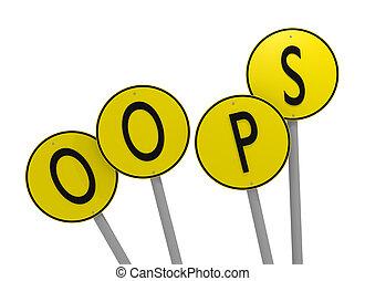 wort, gelber , übertragung, zeichen & schilder, oops, 3d