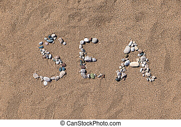wort, geschaffen, sand see, farbe, kieselsteine