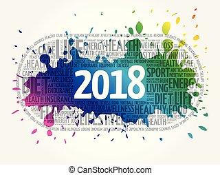 wort, gesundheit, 2018, sport, wolke, ziele