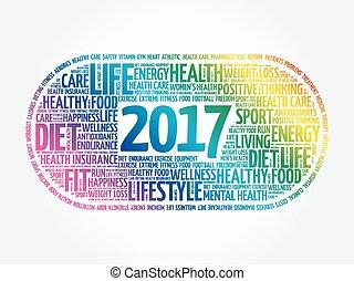 wort, gesundheit, ziele, 2017, sport, wolke