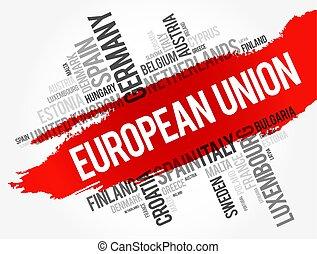 wort, gewerkschaft, liste, städte, wolke, europäische