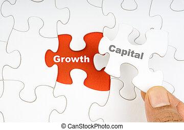 wort, growth., puzzel, stichsaege, hand holding, hauptstadt, stück