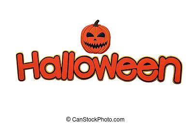 """wort, """"halloween"""", freigestellt, hintergrund., ledig, weißes"""