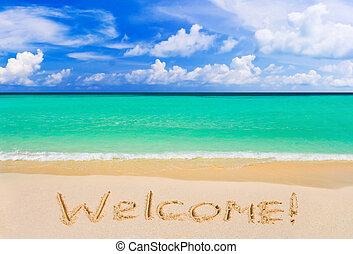 wort, herzlich willkommen, auf, sandstrand