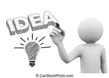 wort, idee, person, zwiebel, zeichnung, 3d