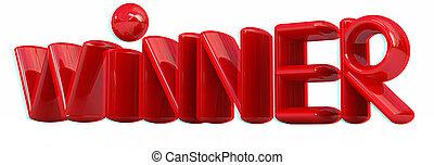 """wort, illustration., 3d, anaglyph., sehen, """"winner"""", 3d., ansicht, red/cyan, brille"""