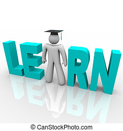 wort, kappe, -, studienabschluss, lernen, mann