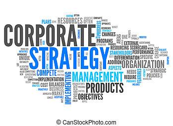 wort, korporativ, wolke, strategie