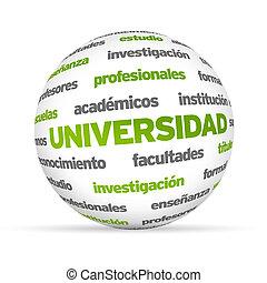 wort, kugelförmig, universität, spanish), (in, 3d