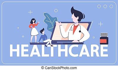 wort, ledig, banner., online, healthcare, beratungsgespräch...