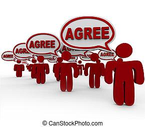 wort, leute, abkommen, vortrag halten , gruppe, blasen, zustimmen