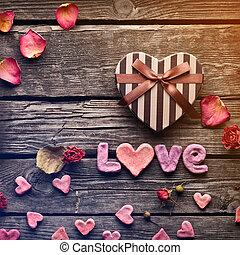 wort, liebe, mit, herz, valentinestag, geschenkschachtel
