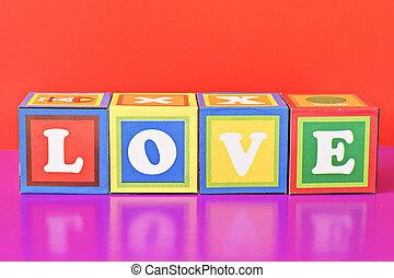 """wort, """"love"""", spelled, heraus, in, baby- blöcke"""
