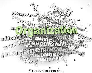 wort, organisation, hintergrund, imagen, 3d, wolke, begriff, ausgaben