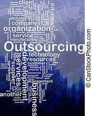 wort, outsourcing, wolke