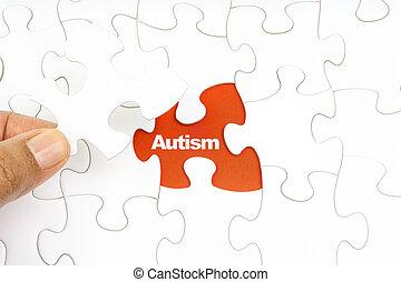 wort, puzzel, stichsaege, hand holding, autism., stück