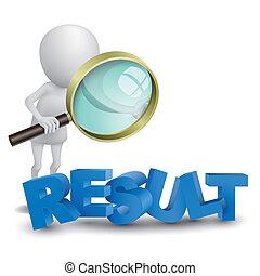 """wort, """"result"""", person, aufpassen, glas, vergrößern, 3d"""